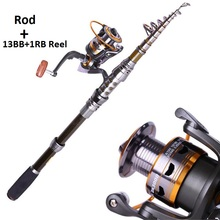 Best qulity  1.8- 3.0m Fishing Rod Set and 14BB Metal Spoon Reel Lure Spinning Fishing Reel vara de pesca de carbono