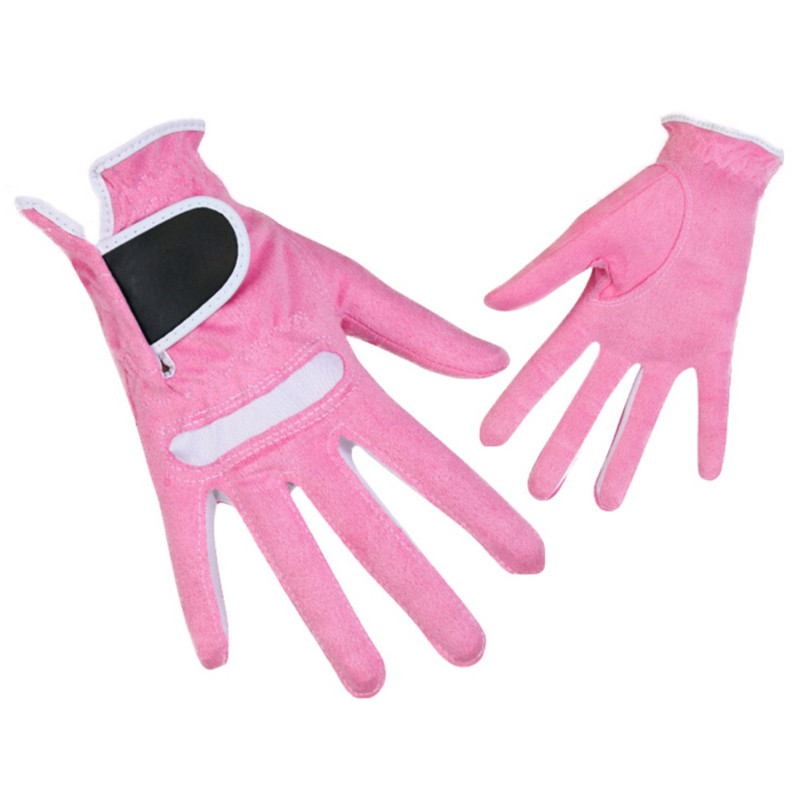 1Pair Womens Golf Gloves Microfiber Breathable Soft Fit Sport Grip Durable Gloves Sports Anti-skid Comfortable Gloves