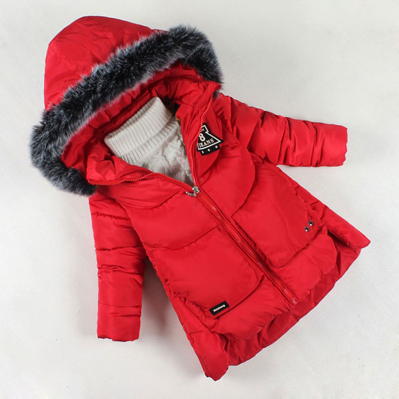 ФОТО 2017 Girls Winter Coat Brand Fashion Down Jackets for Girl Thickening Hooded Cotton Coats Children Girls Outerwear Warm Clothes