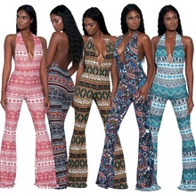 Women Print Backless Halter Wide Leg Long font b Jumpsuit b font Sexy Deep V Neck
