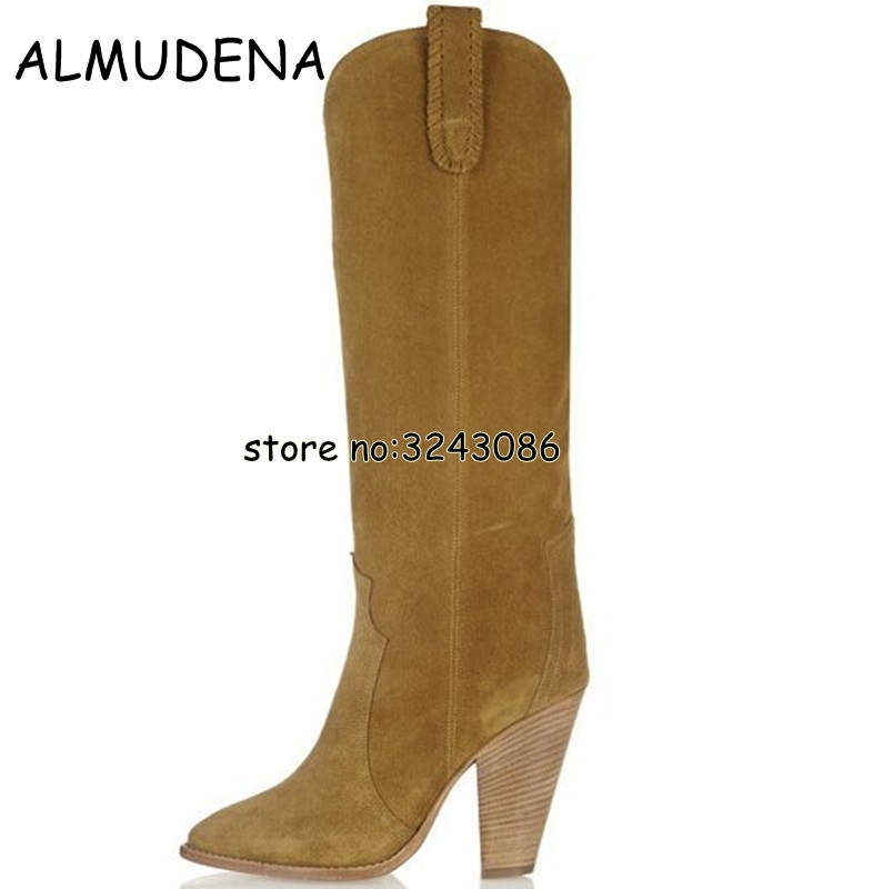 Suede Knee High Lady Long Boots Slip-on Spring Autumn Woman Rome Style Motorcycle Boots Shoes Spike Heels Fashion Boots Shoes hot woman knee high boots fashion woolen 3 styles slip on solid wedge boots autumn and spring shoes women 1965