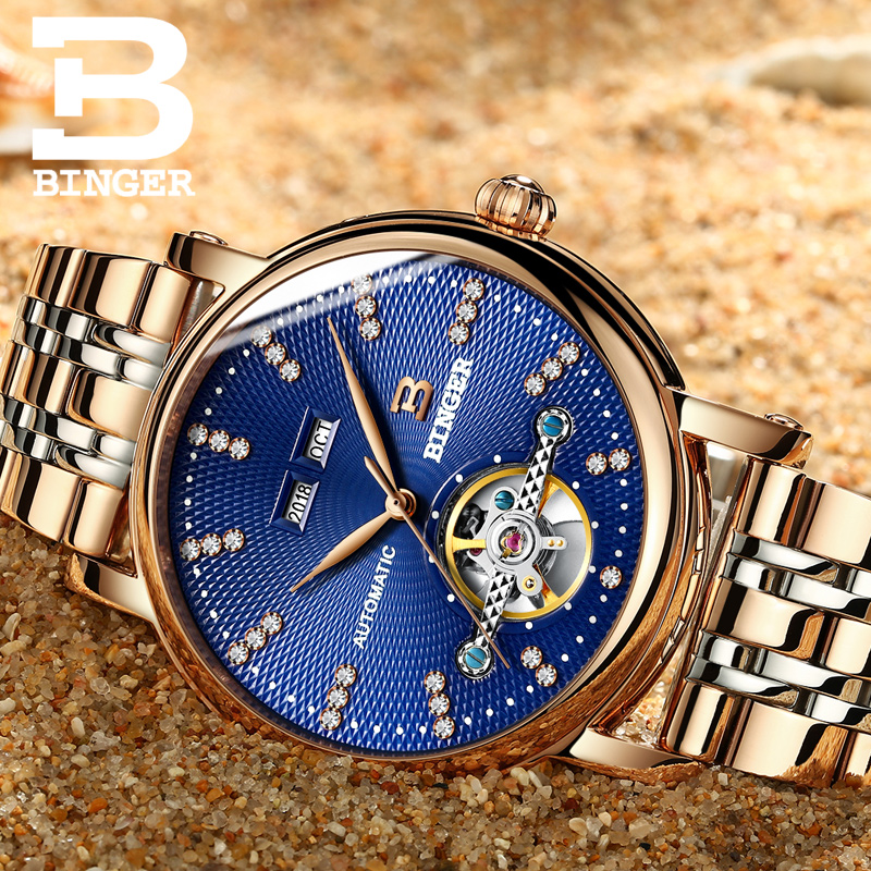 Full stainless Steel sapphire Switzerland BINGER Men s Watch Luxury Diamond Superior quality Mechanical Wristwatches B