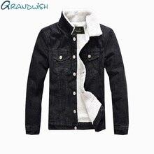 Grandwish/зимняя мужская куртка с отложным воротником, парка, внутренняя флисовая джинсовая куртка, большие размеры 5XL, верхняя одежда, мужская одежда, ZA060
