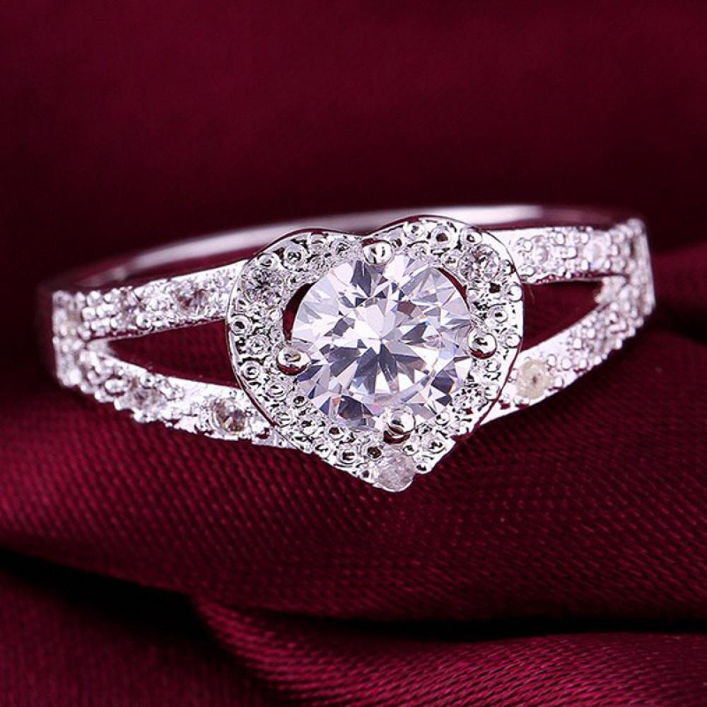 1 Stück Elegante Mode Silber Überzogen Frauen Schönheit Kristall Hochzeit Stein Dame Herz Ringe Größe 6 7 8 9 Heißer Verkauf Top Qualität
