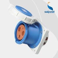 Wholesale Saipwell 3P (2P+E) 230V 125A High current EN / IEC 60309 2 IP67 power socket waterproof iec socket panel mount SP3380