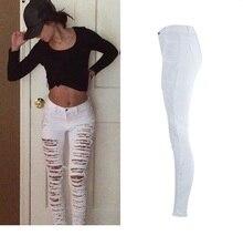 ASTFSC Women High Waist White Denim Pants Woman Pencil Popular Street Stylish Personality Plus Size Ripped Holes Skinny Jeans
