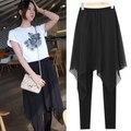 Korean Chiffon Skirt Leggings Plus Size 2xl 3xl 4xl XXL XXXL XXXXL Summer Fashion Skinny Pants Black Cotton Legging Leggins 2017