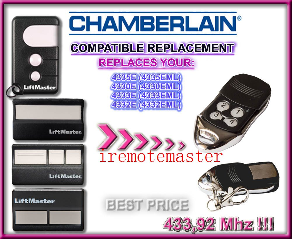 CHAMBERLAIN liftmaster 4330E (4330EML),4332E (4332EML),4333E (4333EML),4335E (4335EML) replacement garage door remote
