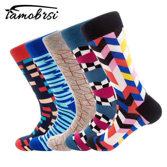 Personality Geometric Stripe Pattern Autumn Winter Street Style Socks Funny Happy Socks Cotton Men Socks Female Women Socks