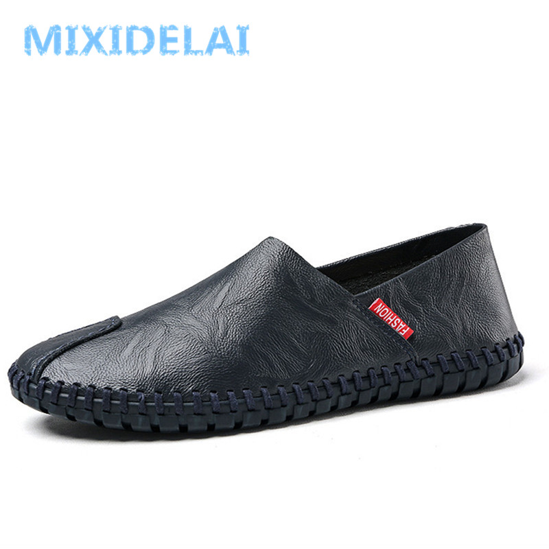 MIXIDELAI Size 38~50 High Quality Genuine Leather Men Shoes Soft Moccasins Loafers Fashion Brand Men Casual Comfy Driving Shoes