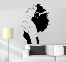 Parede de vinil apliques bela menina fones música quarto decoração dormitório escolar casa arte design decoração 2yy8