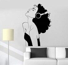 ויניל קיר applique יפה ילדה אוזניות מוסיקה חדר קישוט בית ספר מעונות בית אמנות עיצוב קישוט 2YY8