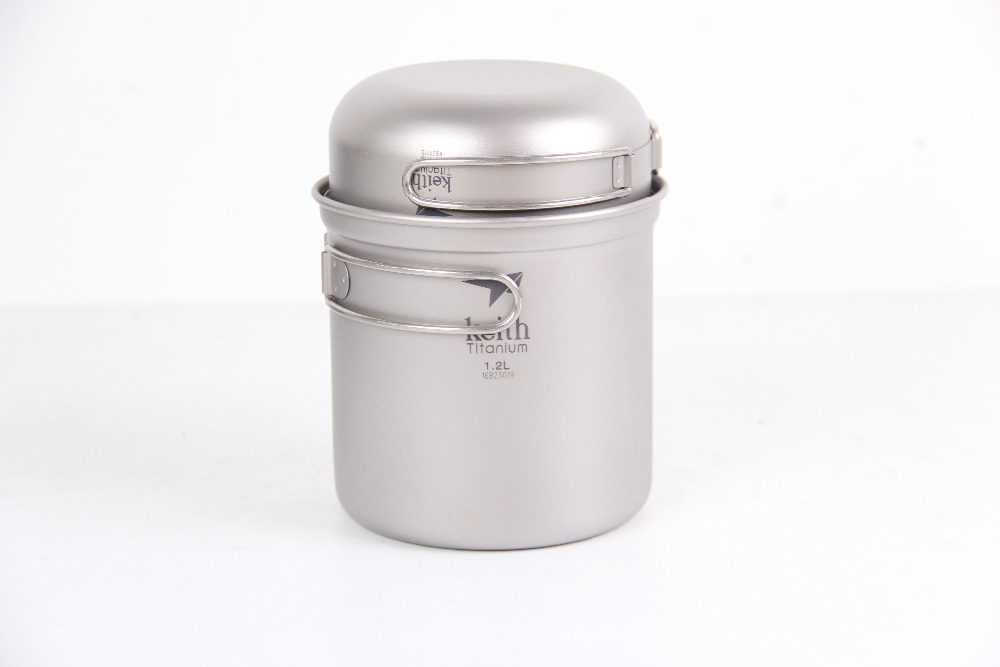 Keith Folding 1200ML Titanium Camping Pot Set with Two Bowls Outdoor Tableware