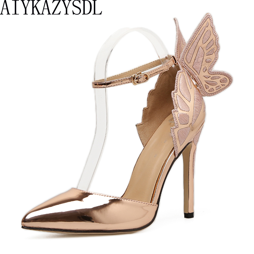 AIYKAZYSDL Women Pointed Toe Pumps Wing 3D Butterfly Embroidery High Heel Ankle Strap Soes D'orsay Metallic Stiletto Shoes Dress stiletto metallic ankle strap heels