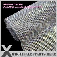 DHL Free Shipping 3mm Iron On Metal Rhinestone Mesh Trim Crystal AB Rhinestone In Silver Base