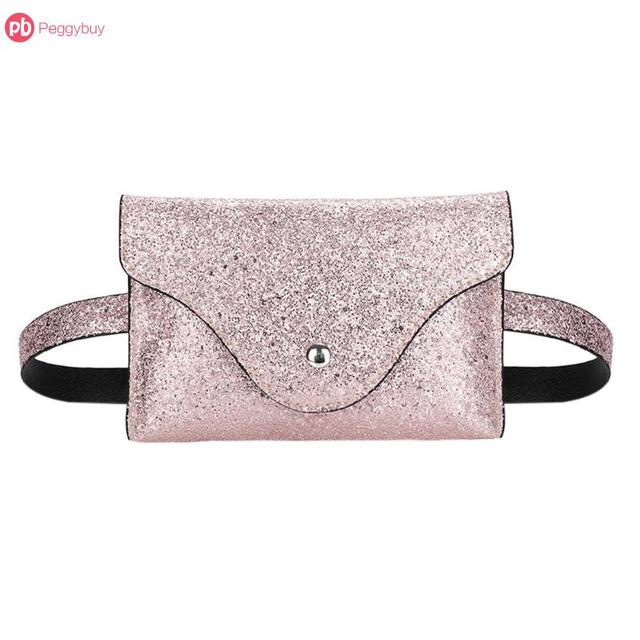 Multi-Colors Glitter Women PU Leather Waist Bags Fanny Packs Belt Handbags Flap Sequins Sparkly Shining Crossbody Bum Belt Bags