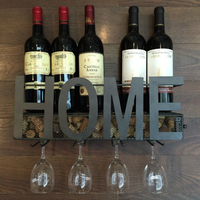 Настенный металлический винный стеллаж 4 длинных стволовых стеклянный держатель для хранения вина из пробки 58x22x12 см