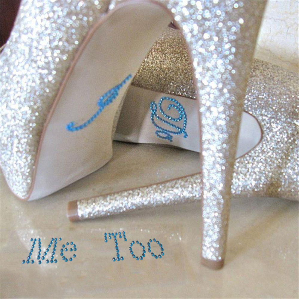 1 Set I Do Me Too Bridal Groom Acrylic Shoe Sticker White Clear Rhinestone For Shoes Decoration For Wedding Decor