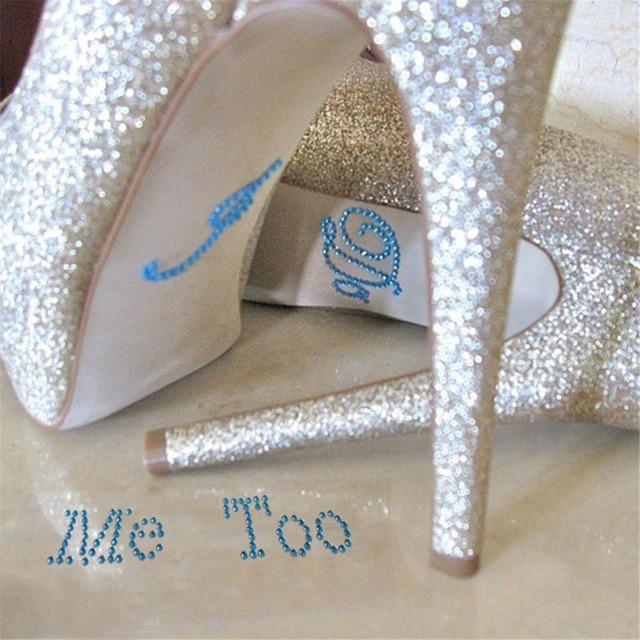 1 Set I Do Me Too Bridal Groom Acrylic Shoe Sticker White Clear Rhinestone  For Shoes Decoration For Wedding Decor f812ff374945