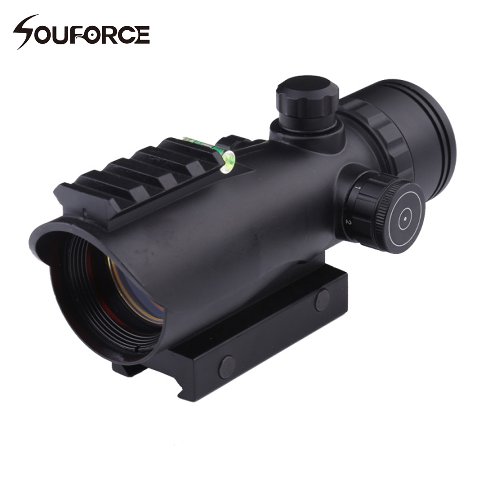 Tactical Airsoft 1X30 Red Green Optical Scope Rifle Scope With Spirit Bubble Level for Hunting Shooting ...
