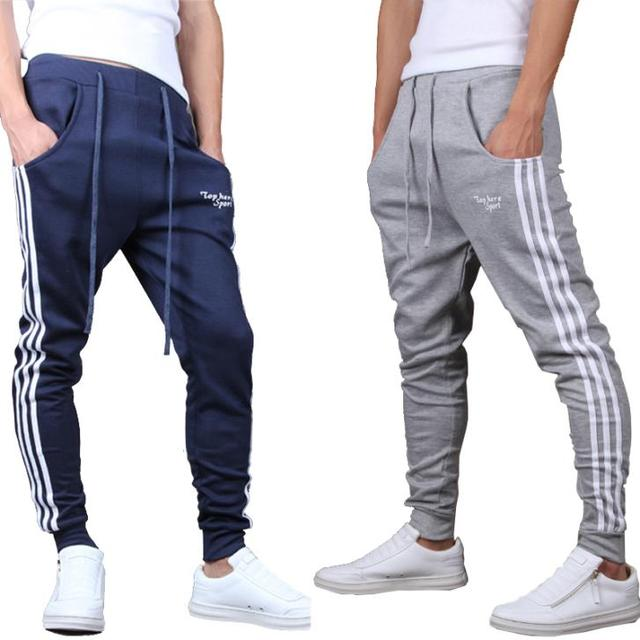 2017 New Men Joggers Pants Casual Side Stripe Skinny Sweatpants Low Drop Crotch Harem Pants Shark Pants Black