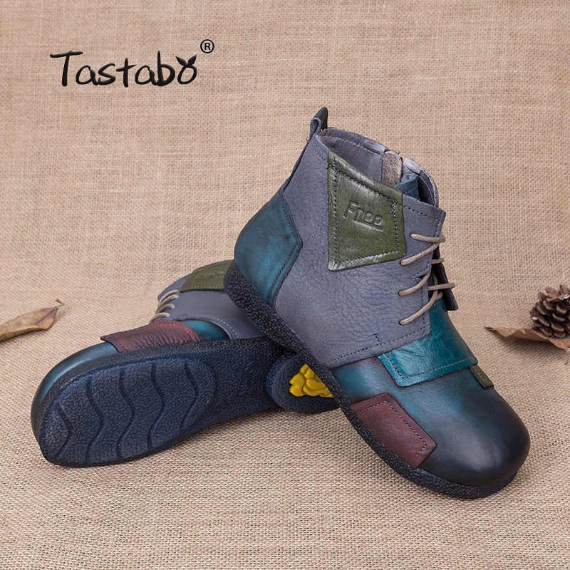 Tastabo 2018 Moda El Yapımı Kadınlar Için Ayak Bileği Ayakkabı Vintage Ayakkabı Halk Tarzı Hakiki Deri Bayan Botları