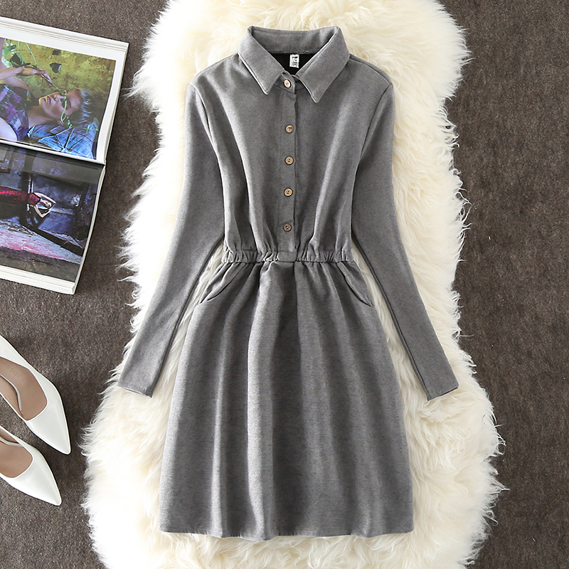 QR Brand Autumn Winter Dress Women 2018 Elegant Vintage Solid Thick Warm Velvet Dresses Female Casual Slim Long Sleeve Dress