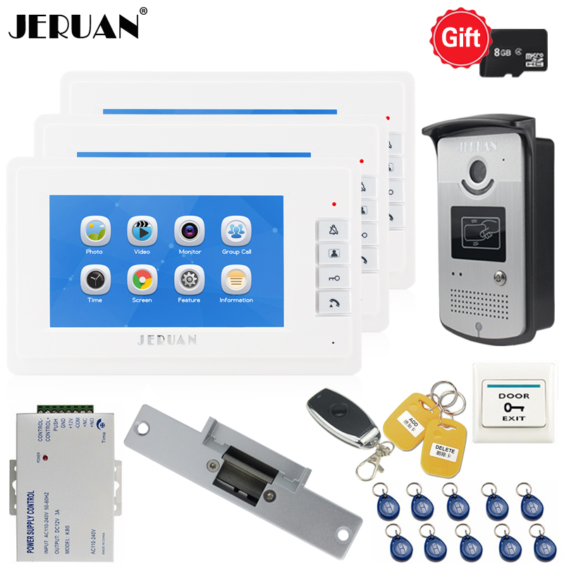JERUAN 7 Inch LCD Video Door Phone Voice/Video Recording Intercom System Kit With RFID Access IR Camera For 1 Outdoor 3 Indoor