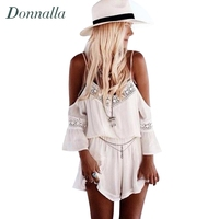 2015 New Combishort Femme Summer Loose White Short Jumpsuit Deep V Neck Spaghetti Off Shoulder Playsuit