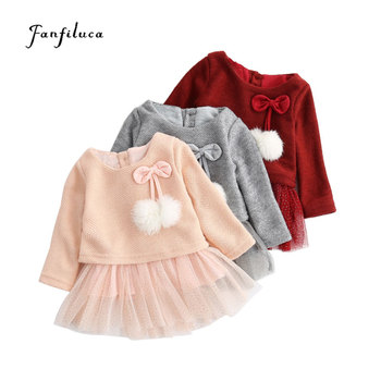 2cf161c4c Fanfiluca bebé niña ropa de manga larga niños arco vestido invierno gruesas  niñas tutú vestido de boda elegante para niñas niños