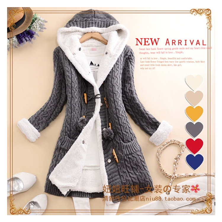 New arrival Girl Sweater Coat Winter 2018 Autumn Casual Solid Hooded Long Thicker Cashmere Knit cardigan sweater Jacket Students