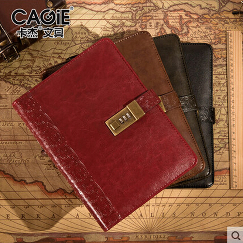 Cagie Vintage Notebook A5 Printed Cover Leather With Lock Personal Business Diary Journals Travelers Notebook Filofax Organizer цена