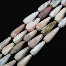 Full strand Facetadas Teardrop Pink Opal Granos Flojos DIY Pulsera, Corte en Bruto Opal Piedras Naturales Colgantes Joyería de la Forma de Pera