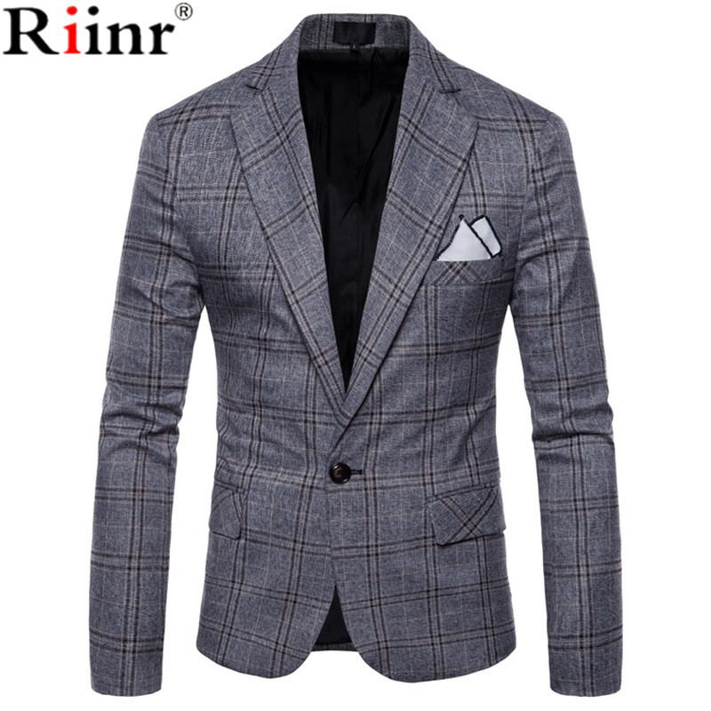 Riinr 2018 новый большой решетки шерсть синий проверить твид пользовательские Для Мужчинs Повседневное костюм Pioneer в стиле ретро делает тонкий ...