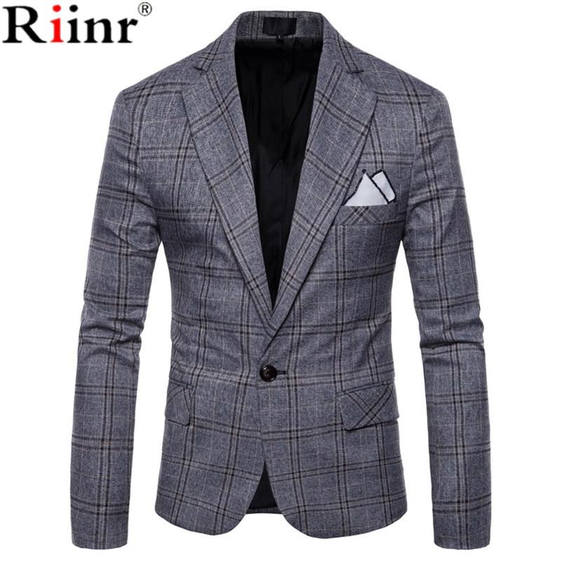 Riinr 2019 New Large Lattice Wool Blue Check Tweed Custom Men's Casual Suit Pioneer Retro Cut Making Slim For Men's Plaid Blazer