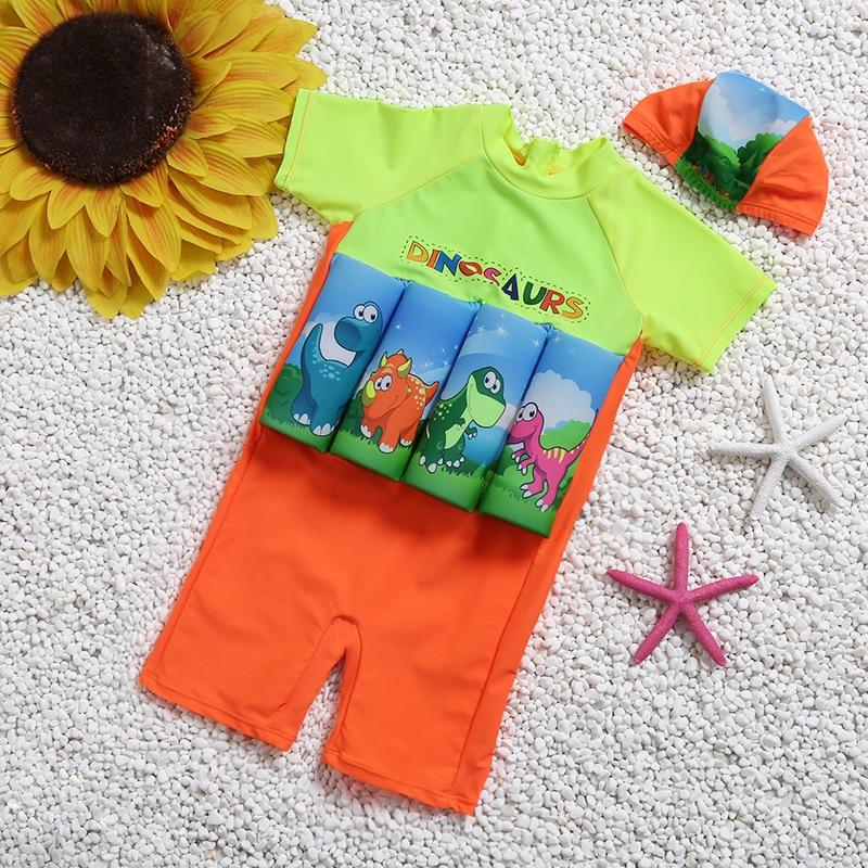 Knee Swimsuit For Children Float Learning Swim Wear Sleeve Buoyancy Swimwear Lovely Kids Boy Bathing Suit Protective Swimsuit