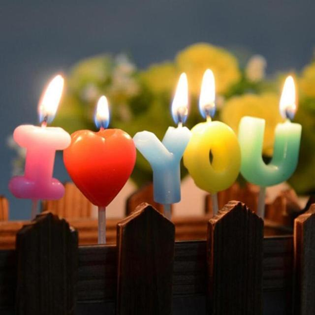 I Love You Letter Happy Birthday Candles Novelty Anniversary Wedding Romantic Toothpick Cake Party Decor