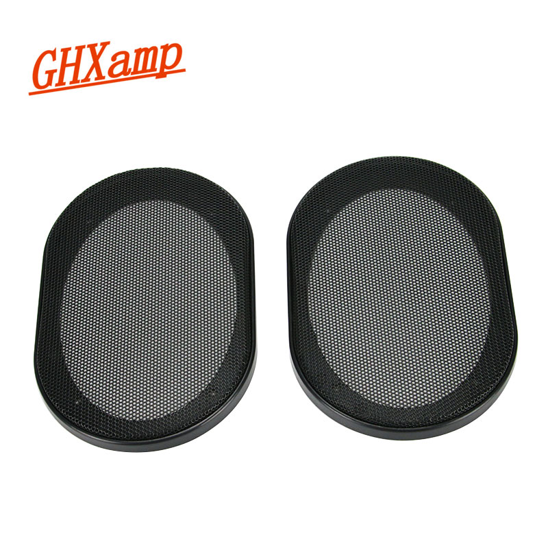 GHXAMP 2PCS 4 * 6 palcový černý reproduktor reproduktoru ochranný gril ABS plastový rám + kovový kryt síťovina kryt kryt DIY