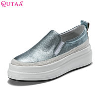 QUTAA 2018 Women Pumps Elegant Woman Shoes Platform Wedge High Heel Sheepskin Slip On Blue Ladies