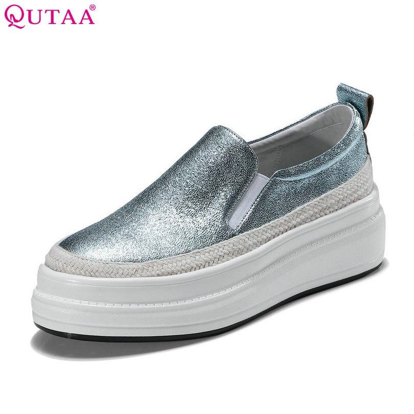 QUTAA 2020 النساء مضخات أنيقة امرأة الأحذية منصة إسفين عالية الكعب الغنم زلة على الأزرق السيدات عارضة مضخات حجم 34  39-في أحذية نسائية من أحذية على  مجموعة 1