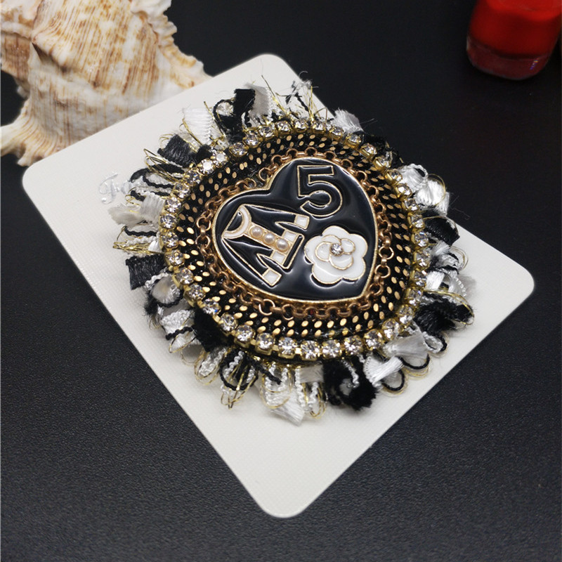 CX Shirling Camellia Flower Coat Letter 5 Brooch Pin Handbag Clothes Decoration Pin Charm Heart Shape Brooch Pin White Black in Jewelry Findings Components from Jewelry Accessories