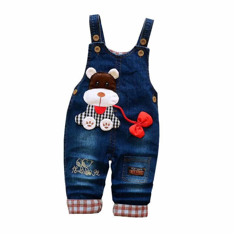 Pantolon Bebek Sonbahar Bahar Kot Tulumlar Giysileri Bebek Kız erkek Karikatür Kot Tulum Pantolon Kot Bebek Giysileri