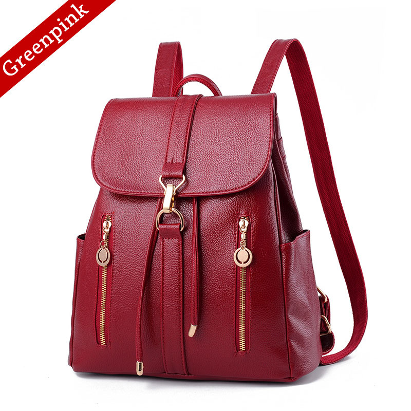 Detail Feedback Questions about Greenpink Patchwork Travel Bag Women s PU  Leather laptop backpack Female drawstring bag school backpacks for teenage  girls ... cc68fd985b