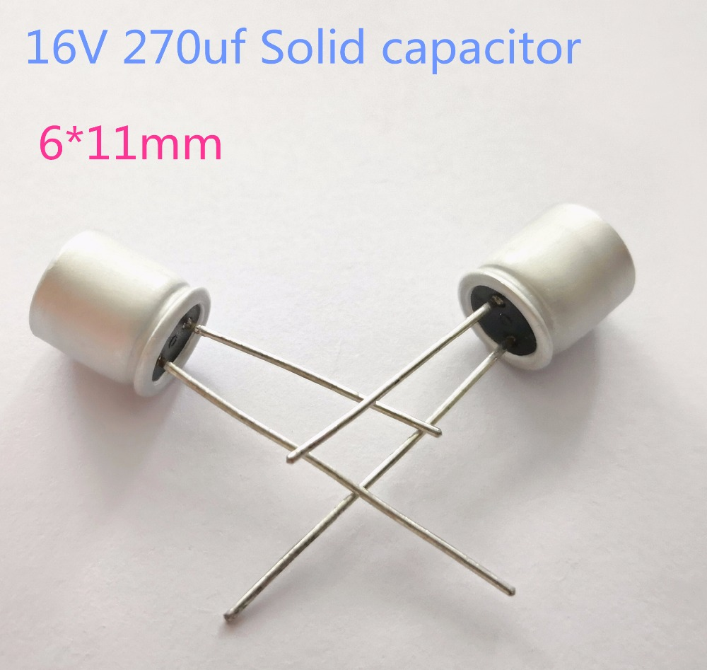 10pcs/lot 16v 270uF 6*11mm Solid Electrolytic Capacitors For Motherboard Low ESR 270uf 16V