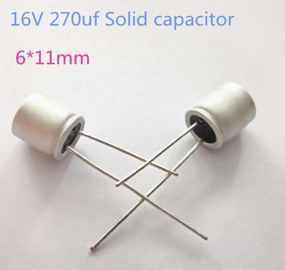 10pcs/lot 16v 270uF 6*11mm Solid Electrolytic Capacitors For Motherboard Low ESR 270uf 16V