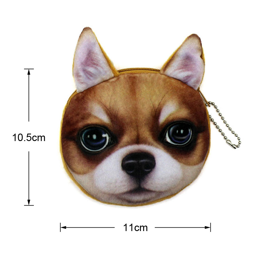 New Kawaii 3D Dogs Prints Women Plush Coin Purse Cute Kids Purse Wallet Bag Coin Pouch Children Purse Holder Women Coin Wallet in Coin Purses from Luggage Bags