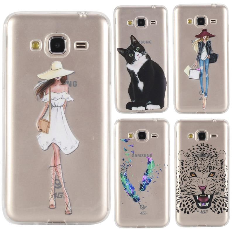 Pour Samsung Galaxy J3 (2016) cas Transparent 3D Impression Couverture de Silicium Cas Pour Samsung Galaxy J3 2016 J320 SM-J320F Cas Coque