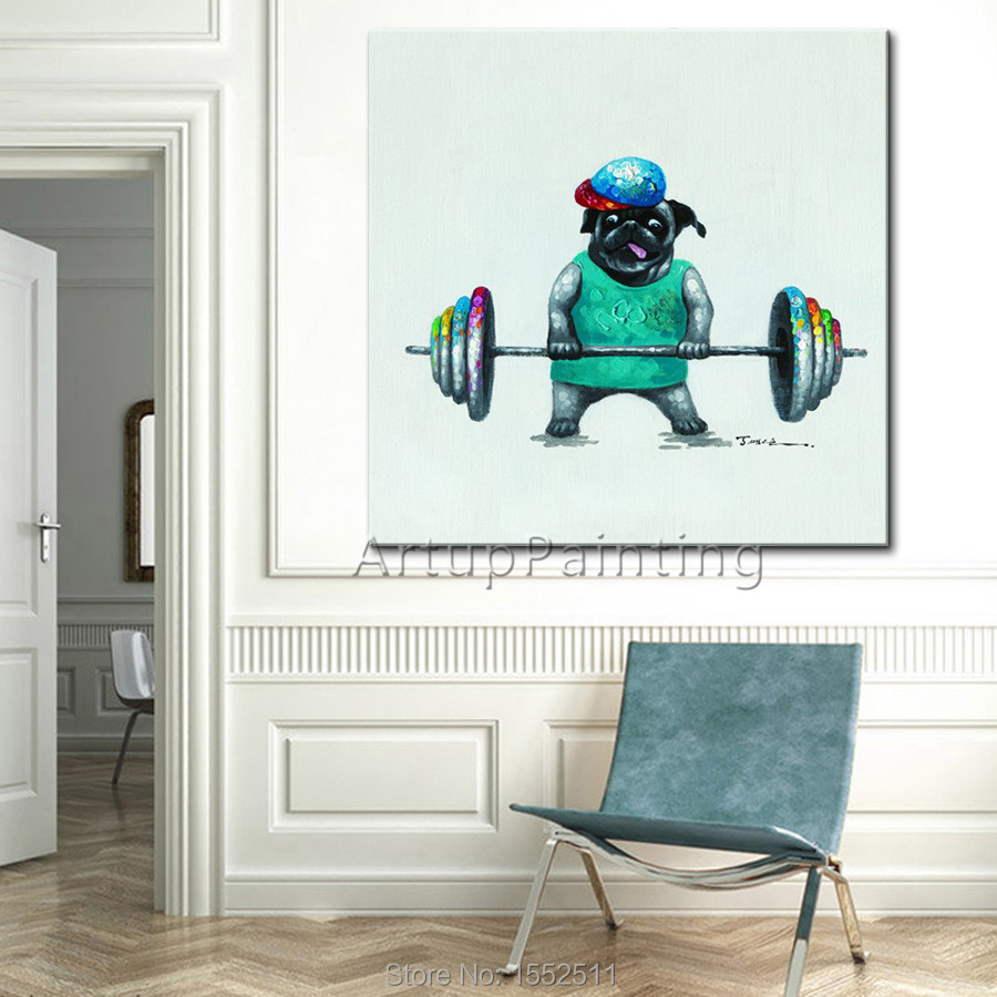 Dog painting ,Playing sports naughty on canvas Oil painting for the living room decoration artworks
