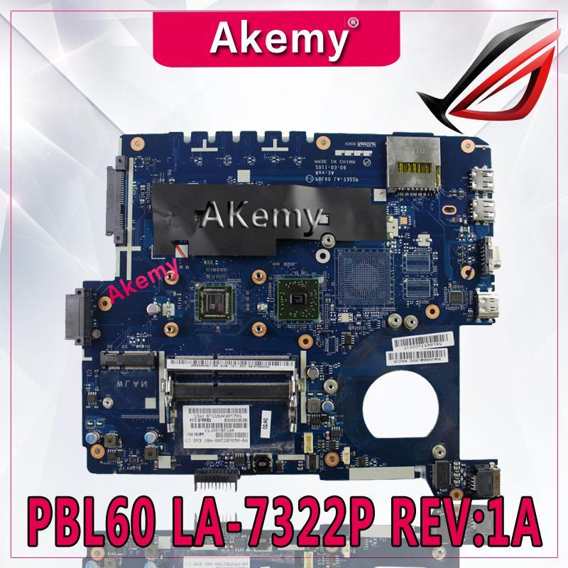 Akemy X53U PBL60 LA 7322P REV 1A Laptop motherboard for ASUS X53B K53B X53 K53 Test