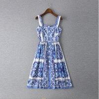 Neue 2015 sommer frauen vintage-mode marke blau weiß porzellan-print kleid spaghetti strap buttons schlank midi kleider